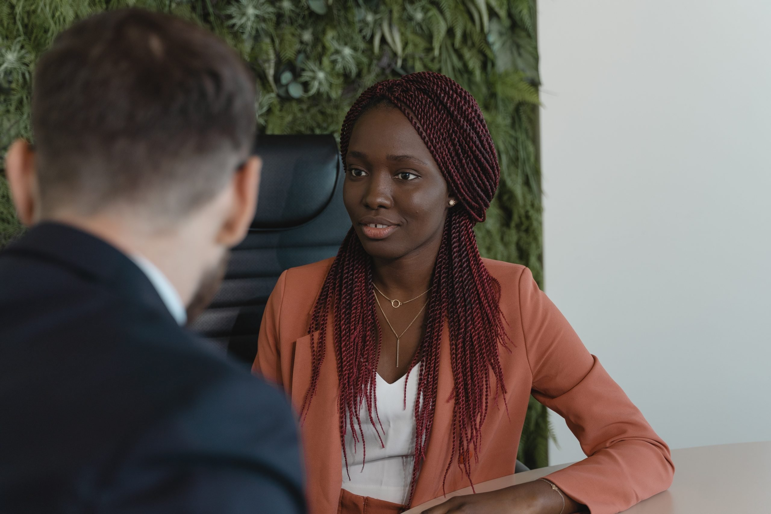 woman in job interview, seated